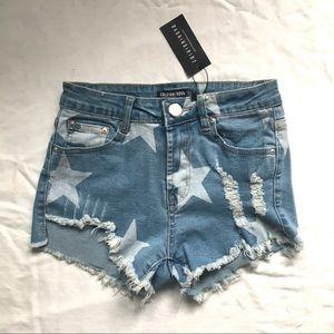 Fashion Nova Certified Denim Distressed Shorts NWT